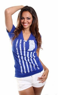 United State of Indiana V-neck Tee - Royal Blue