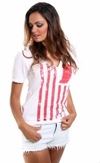 United State of Indiana  V-neck Tee - White