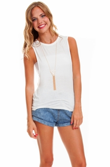 White Double Twist Muscle Tee