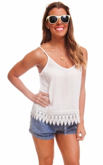 White Lace Double Strap Tank