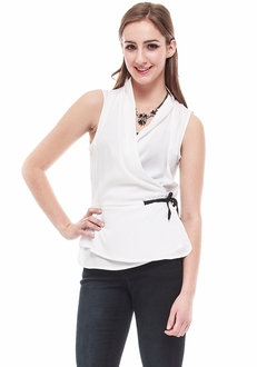 White Wrap Sleeveless Blouse
