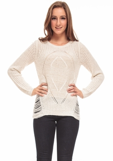 Winter White Speckled Knit Sweater