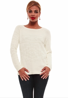 Winter White Tribal Knit Sweater