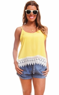 Yellow Double Strap Lace Tank