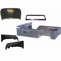 Replacement steel body kit, 1955-1968 Jeep CJ-6, body with fenders, hood, windshield, and tailgate.