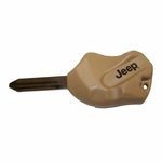Tan Jeep Rock Key Blank for 1998-2017 Jeep Models with Transponder