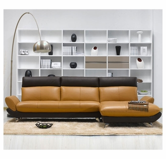 Astonishing Tosh Furniture Forli Caramel And Brown Leather Sectional Sofa Caraccident5 Cool Chair Designs And Ideas Caraccident5Info