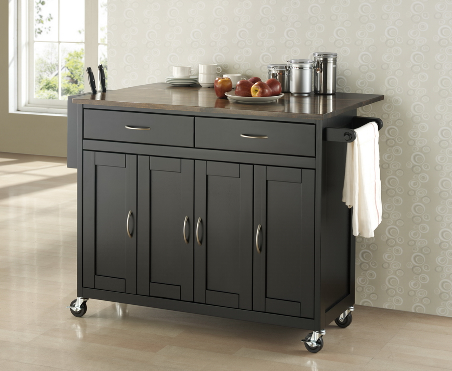 Deryl Black Wood Modern Kitchen Cart