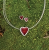 Enameled Heart Necklace by Anna Berthelsen (Earrings below)