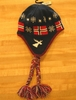 Navy Blue Norway Flag Knit Hat With Braids