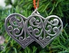 Norwegian Pewter Ornament- Double Heart