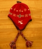 Red Norway Flag Knit Hat With Braids
