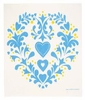 Swedish Dishcloth - Blue Heart and Flowers