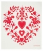 Swedish Dishcloth - Red Heart and Flowers