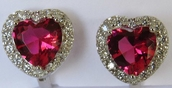 Alura  Silver Collection Red Heart Silver Earrings