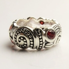 Alura Silver Ruby Crystal Swirl Band  Ring