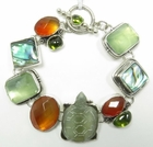 Echo of the Dreamer Jade, Carnelian, Abalone, Vesuvanite Bracelet