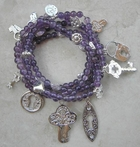 Good Charma Keys on Amethyst Charm Bracelet