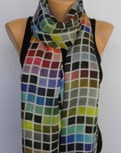 Tolani Collection  Bright Multi Tile Silk Scarf