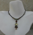 Van Galz Olivine Topaz Crystal Leather Necklace