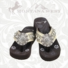 Flower Concho Flip Flops with Turquoise Stones (CASE) NT-S001A