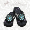Flower Concho Flip Flops with Turquoise Stones NT-S016A (BY THE PAIR)