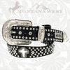 Montana West Belt with Crystal Cross ME-B08-S008 Black