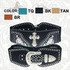 Montana West Rhinestone Cross Stretch Belt CIB-B1221