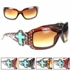 Montana West Turquoise Cross Square Frame Sunglasses SGS-0108GS