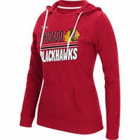 Blackhawks Women's CCM Red Sticks and Stripes Crew Hoodie