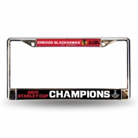 Blackhawks 2015 Stanley Cup Champions Chrome License Plate Frame