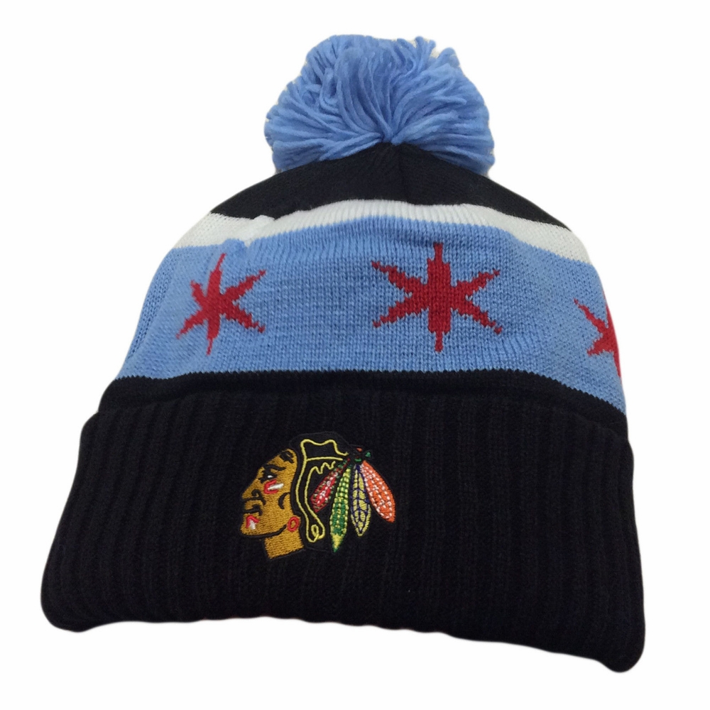 Blackhawks Flag Hat Blackhawks Chicago Flag Knit