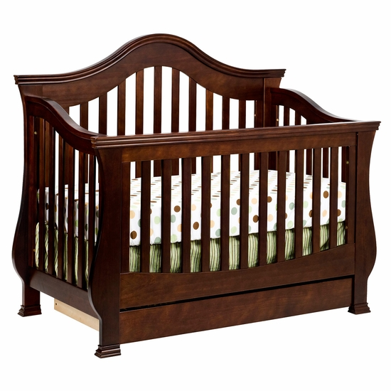 Ashbury Espresso 4 in 1 Sleigh Convertible Crib with Toddler Rail by Million Dollar Baby Classic - Click to enlarge