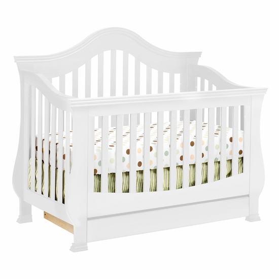 Ashbury White 4-in-1 Sleigh Convertible Crib with Toddler Rail by SimplyBabyFurniture Exclusive - Click to enlarge