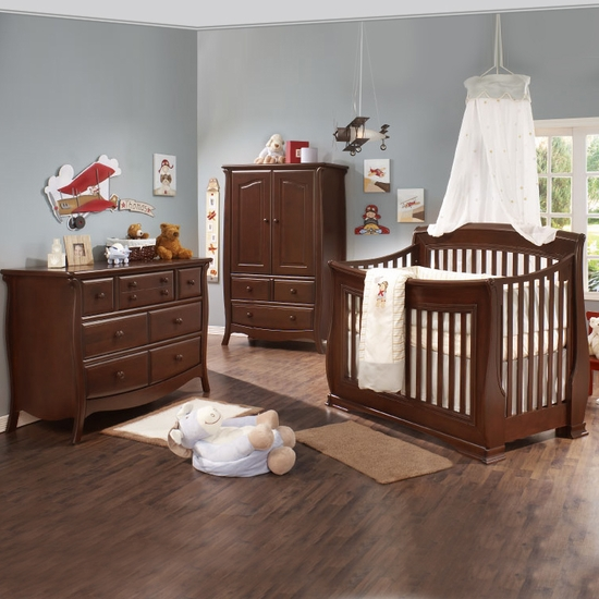 Bella 3 Piece Nursery Set in Cinnamon - Convertible Crib, Double Dresser and Armoire by Natart