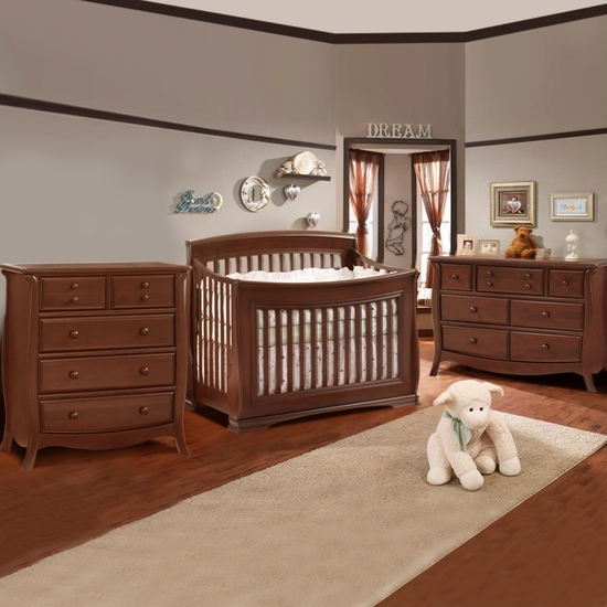 Bella 3 Piece Nursery Set in Cinnamon - Convertible Crib, Double Dresser and Five Drawer Dresser by Natart