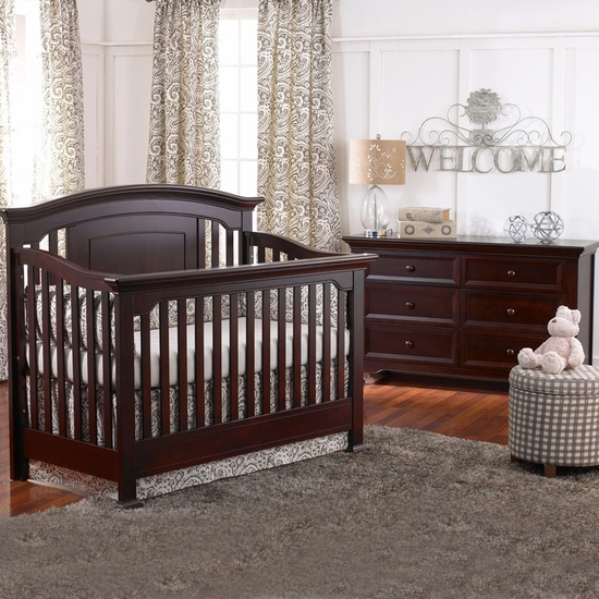 Medford 2 Piece Nursery Set in Espresso - Lifetime Crib and Double Dresser by Munire - Click to enlarge