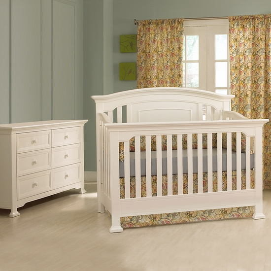 Medford 2 Piece Nursery Set in White - Lifetime Crib and Double Dresser by Munire - Click to enlarge