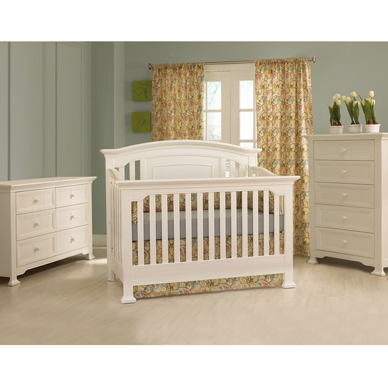 Medford 3 Piece Nursery Set in White - Lifetime Crib, Double Dresser and 5 Drawer Chest by Munire - Click to enlarge