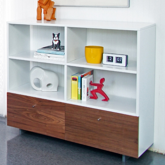 Roh White/Walnut Bookshelf by Spot On Square