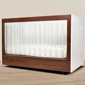Roh White/Walnut Convertible Crib 1 Side Acrylic by Spot On Square