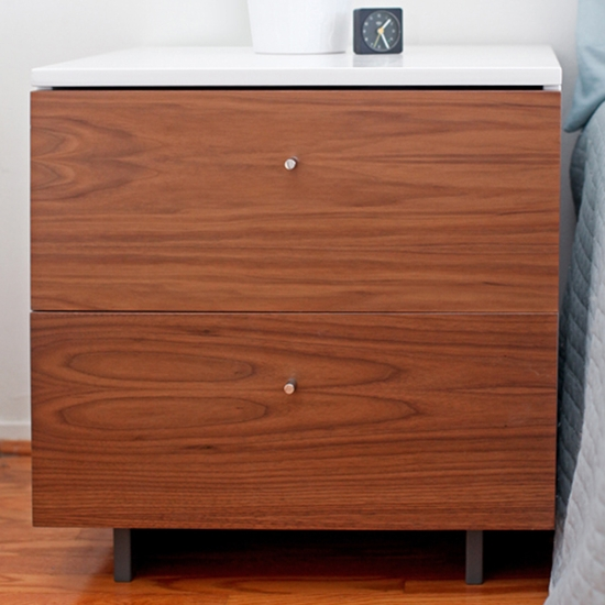 Roh White/Walnut Nightstand by Spot On Square