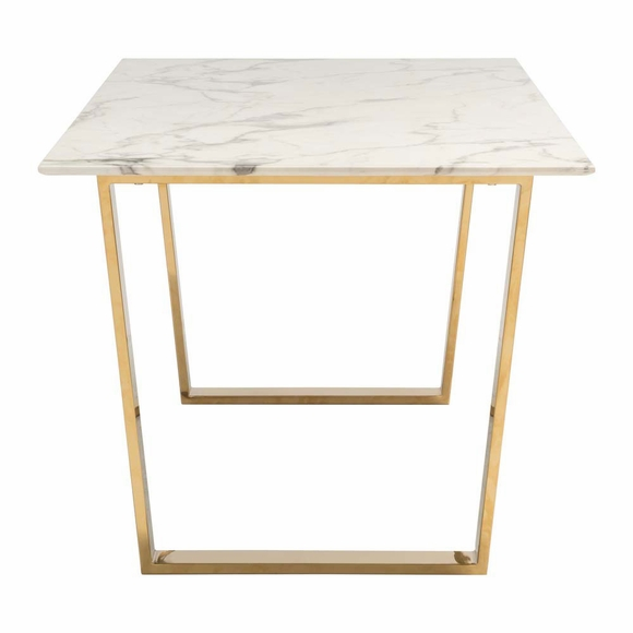Finish In Bright Gold Supporting A Stunning Faux Marble Round Top