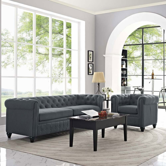 earl 2 piece fabric living room set modern in designs