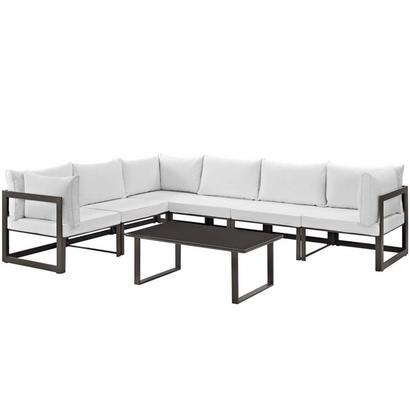 Fortuna 7 Piece Outdoor Patio Sectional Sofa Set Modern