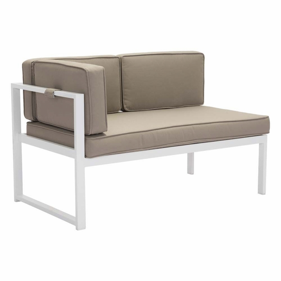 Golden beach chaise lhf white taupe modern in designs - Chaises couleur taupe ...