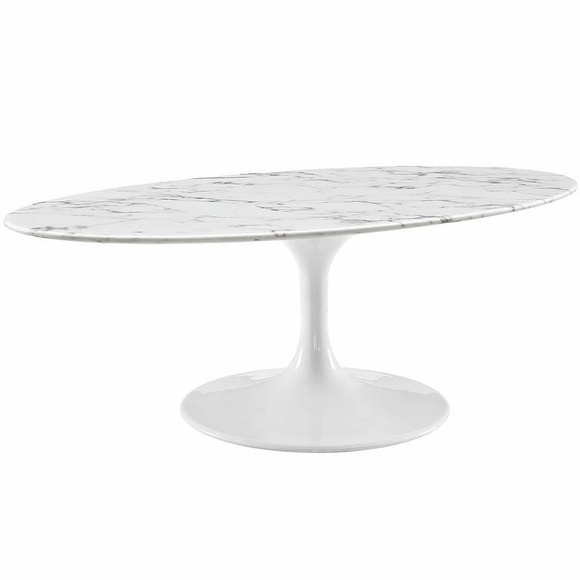 "Oval Coffee Table Marble: Lippa 48"" Oval-Shaped Artificial Marble Coffee Table"