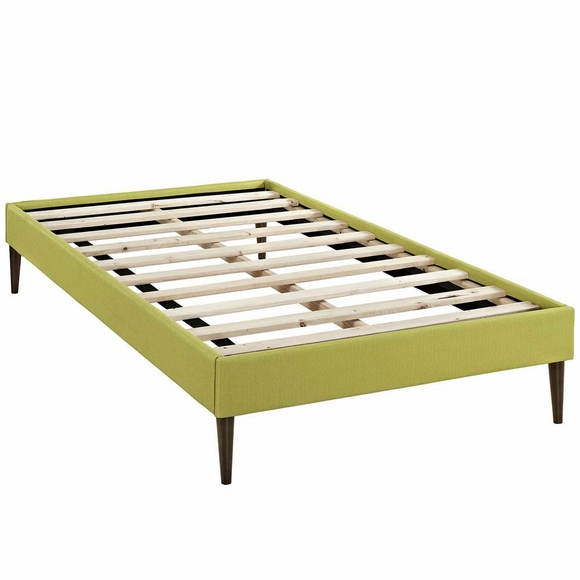 Sherry Twin Fabric Bed Frame With Round Tapered Legs Modern In