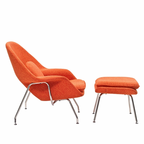 Womb Lounge Chair womb lounge chair and ottoman orange tweed wool