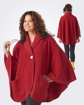 Janska Pocket Cape with Button in Red Fleece